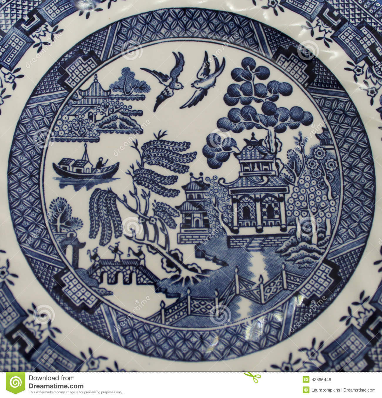 Old Blue Willow China Pattern Plate Stock Photo Image