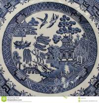 Old Blue Willow China Pattern Plate Stock Photo - Image ...