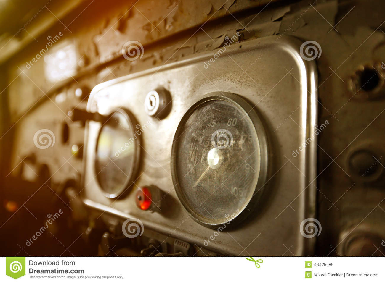 Old Car Instrument Panel Stock Image Image Of Domestic