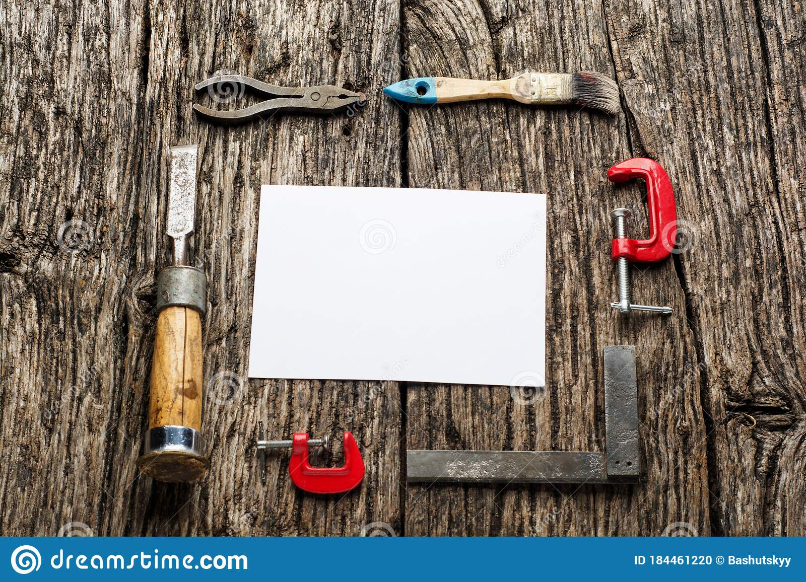 old carpenter tools on rustic wood table with blank paper top view stock photo image of furniture equipment 184461220