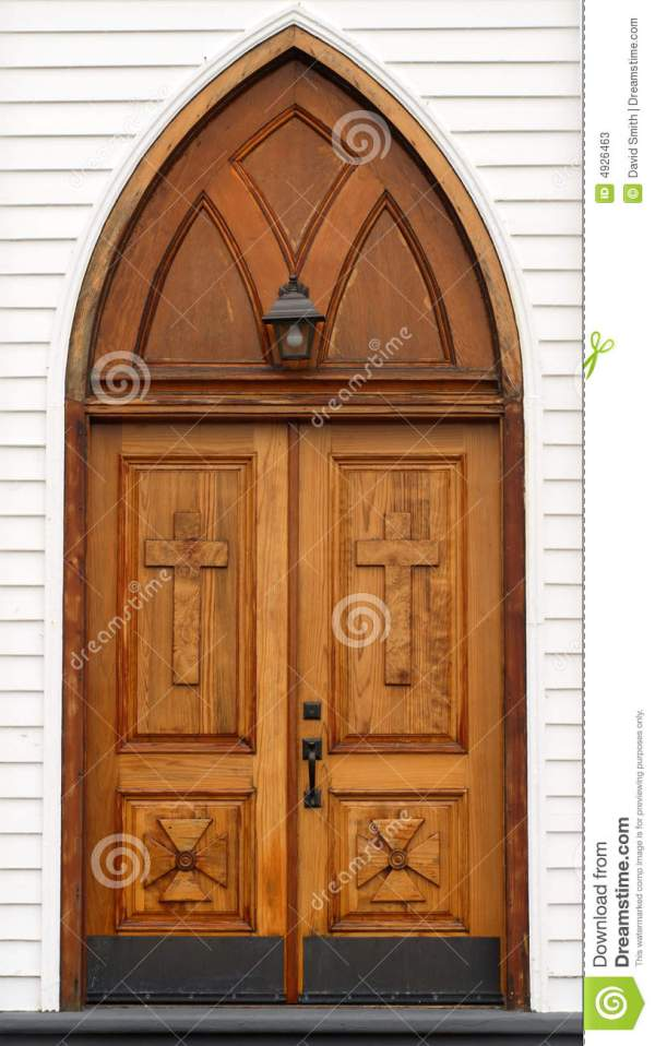 Carved Wooden Church Door With Lantern Stock