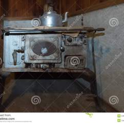 Cast Iron Kitchen Stove Granite Countertops Cost Old Cooker Stock Photo Image Of Metallic Black