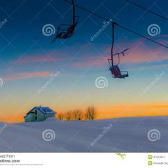 Old People Chair Lift Eames Molded Plywood Lounge Replica On Ski Slopes Abandoned Stock Image Of Cold