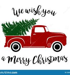 old type red truck with christmas tree and wishes clipart vector graphic [ 1600 x 1288 Pixel ]