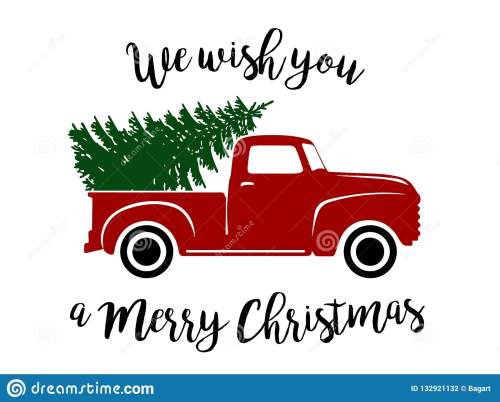 small resolution of old type red truck with christmas tree and wishes clipart vector graphic