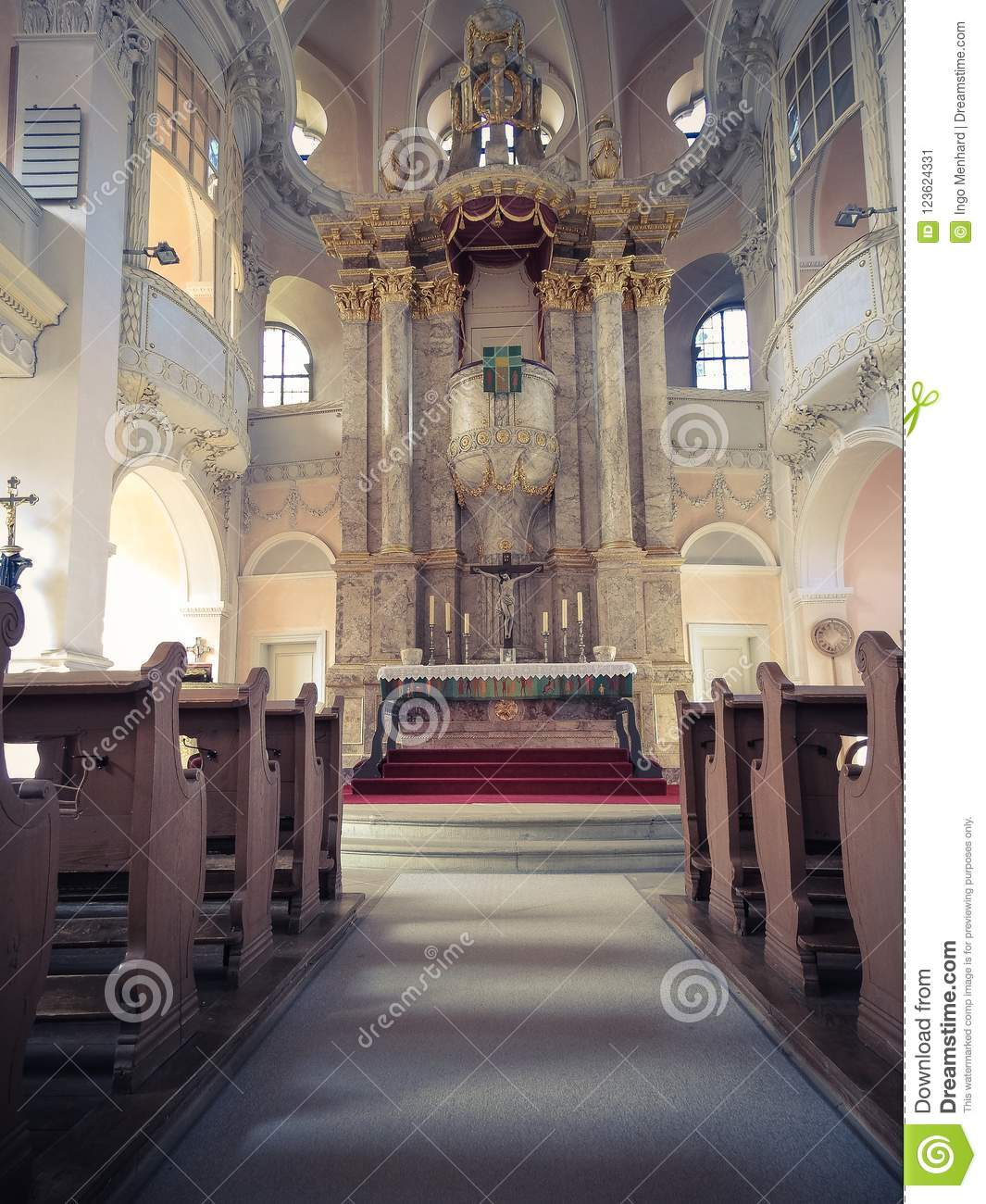 Old Church From The Inside Stock Image Image Of People