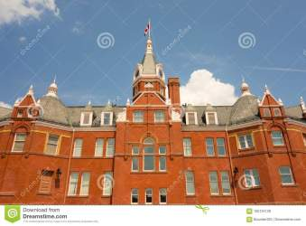 town building southern ontario historic located flag canadian downtown