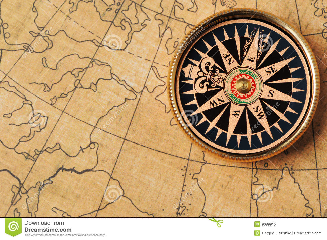 Old Compass And Map Stock Image Image Of Arrow Dirty