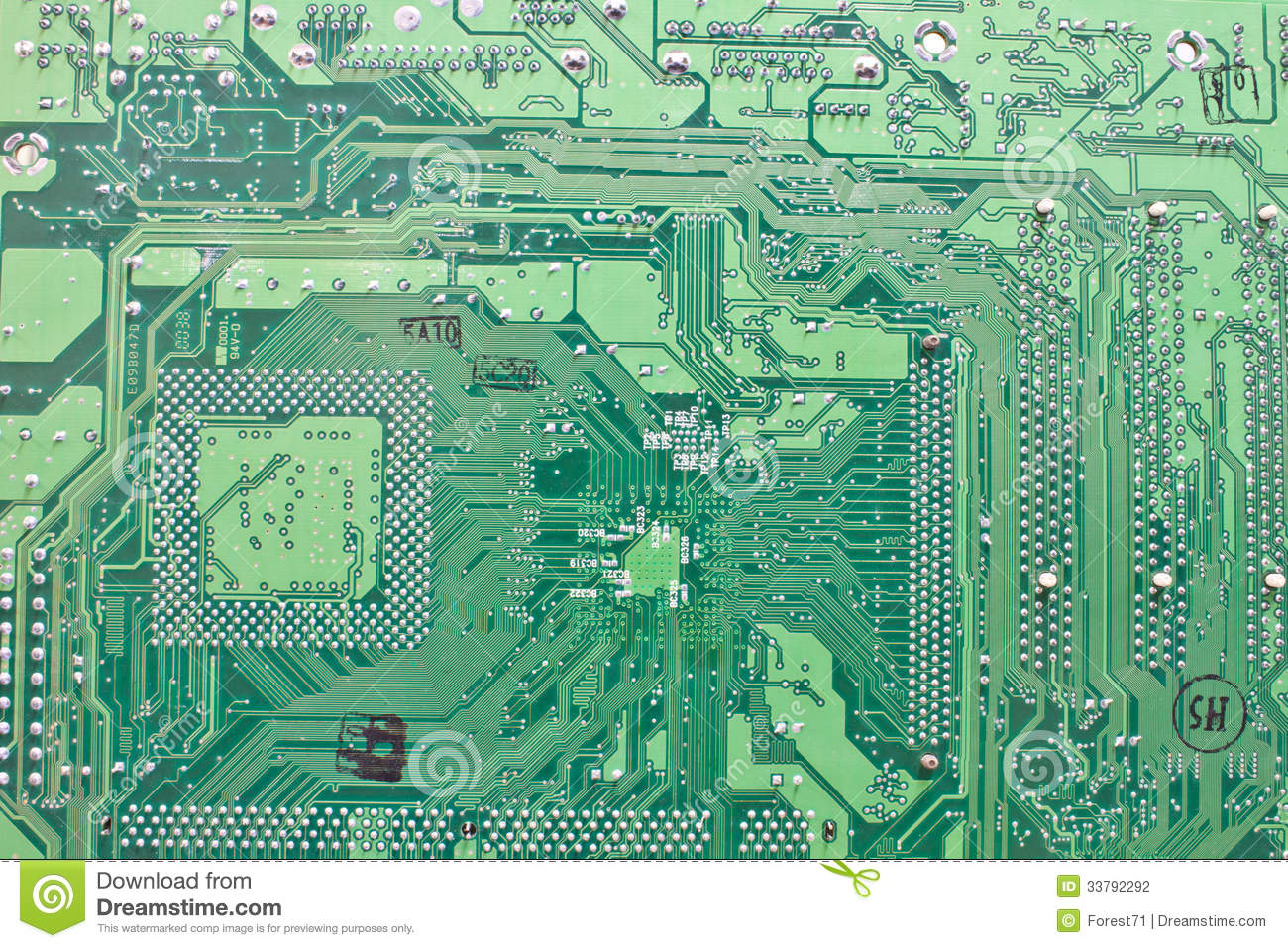 Green Old Circuit Board Royalty Free Stock Photo Image 12596525