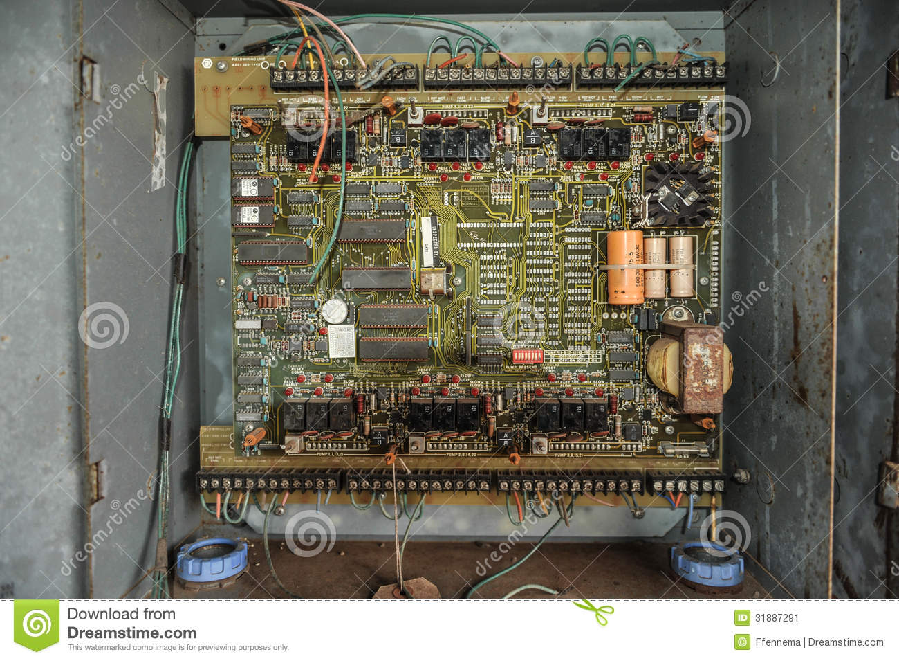 Vector Wiring Diagram Old Control Panel With Circuits In Metal Box Stock Image
