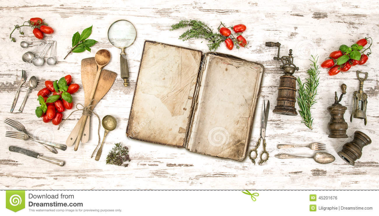 Old Cookbook With Vegetables Herbs And Vintage Kitchen