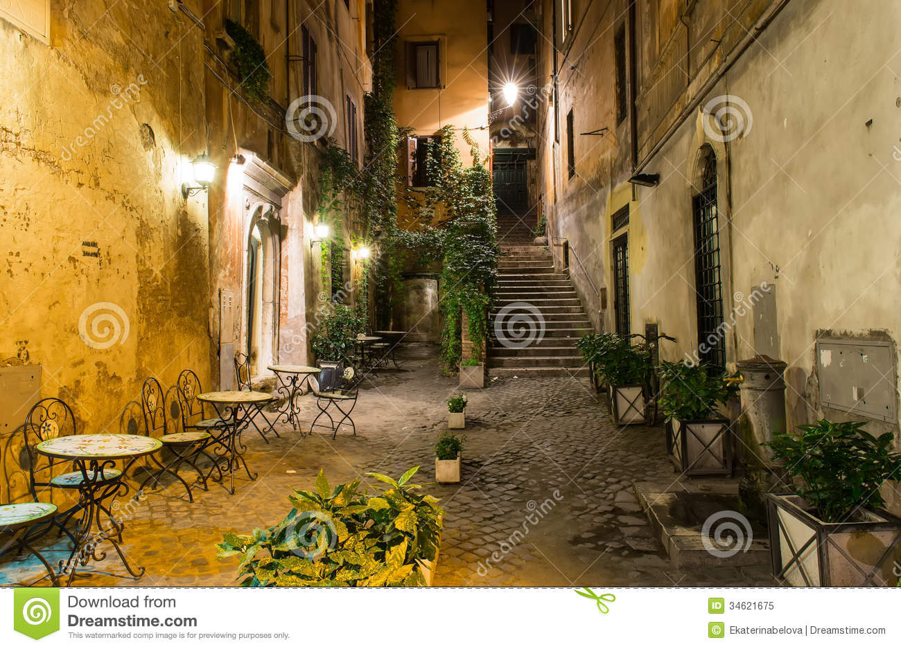restaurant chairs for less office chair headrest attachment old courtyard in rome stock image. image of house, - 34621675