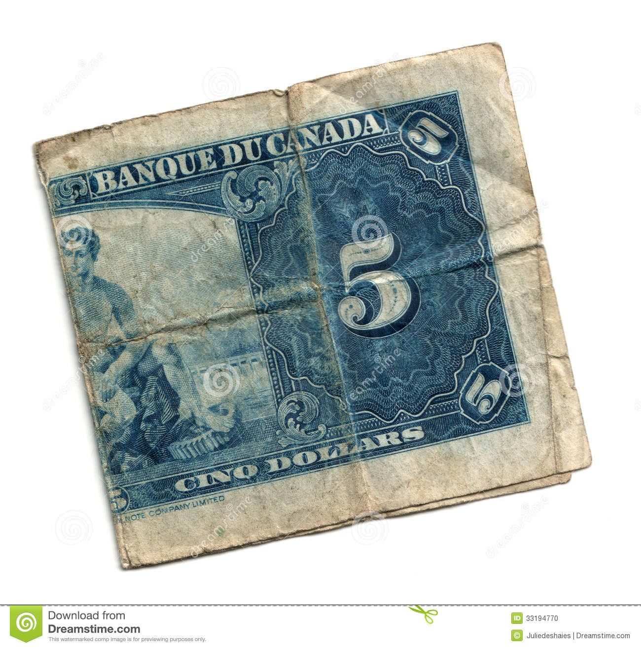 Old 5 Dollar Bill Canadian Stock Photo Image Of Five