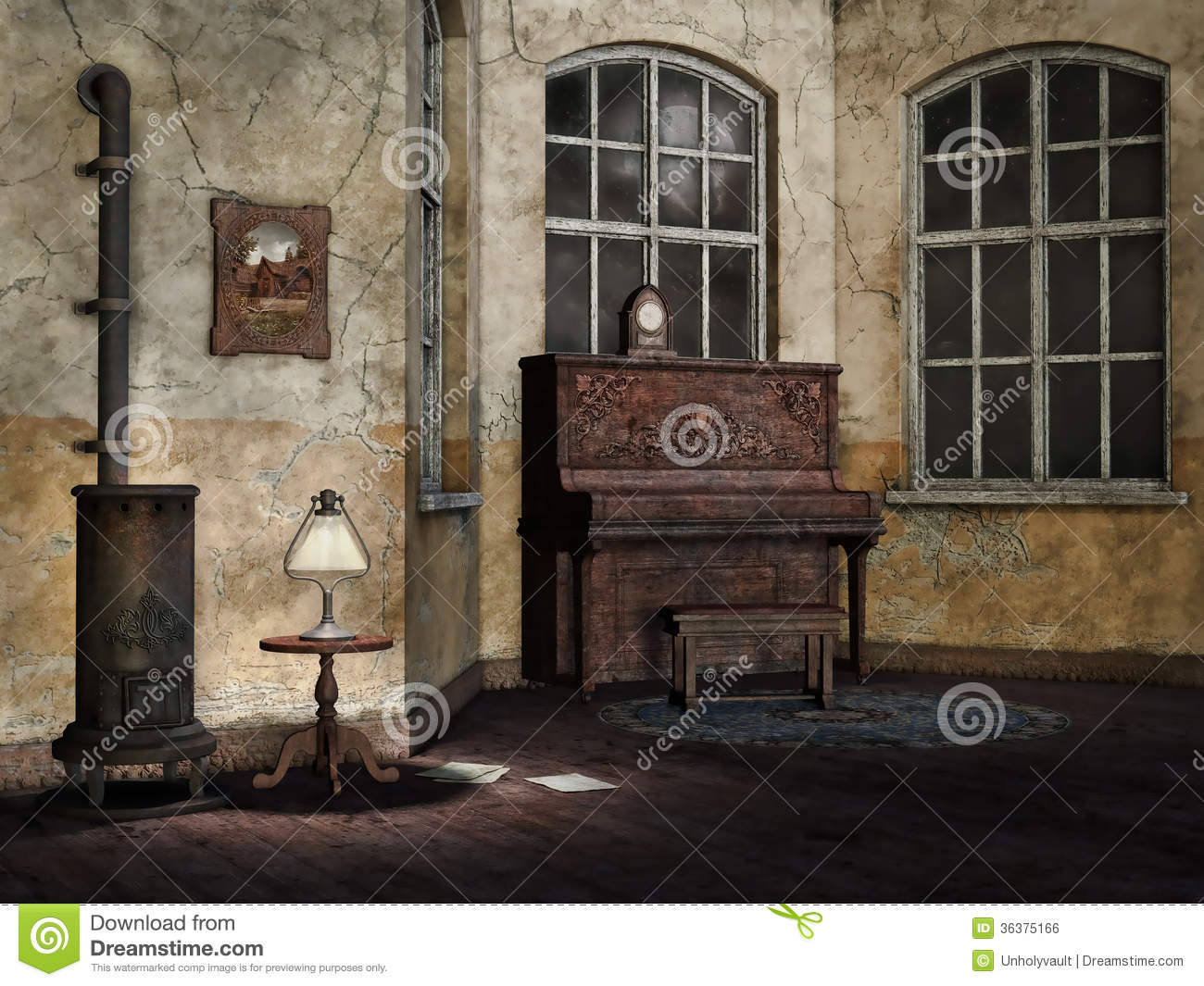 Old And Dusty Living Room Royalty Free Stock Image  Image