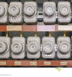 old electrical fuse box with porcelain fuses  [ 1300 x 723 Pixel ]