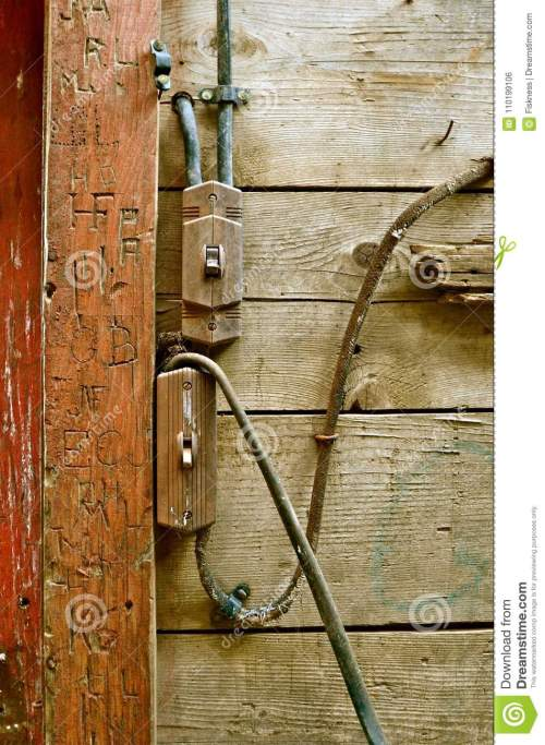 small resolution of old electrical wiring is a fire hazard in an old barn building with carved initials in a support beam