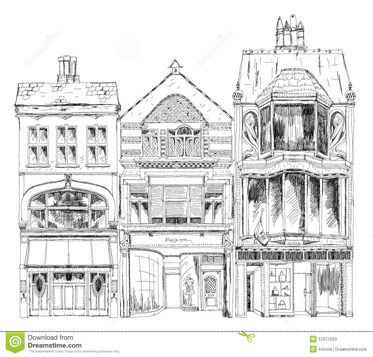Old English Town Houses With Small Shops Or Business On