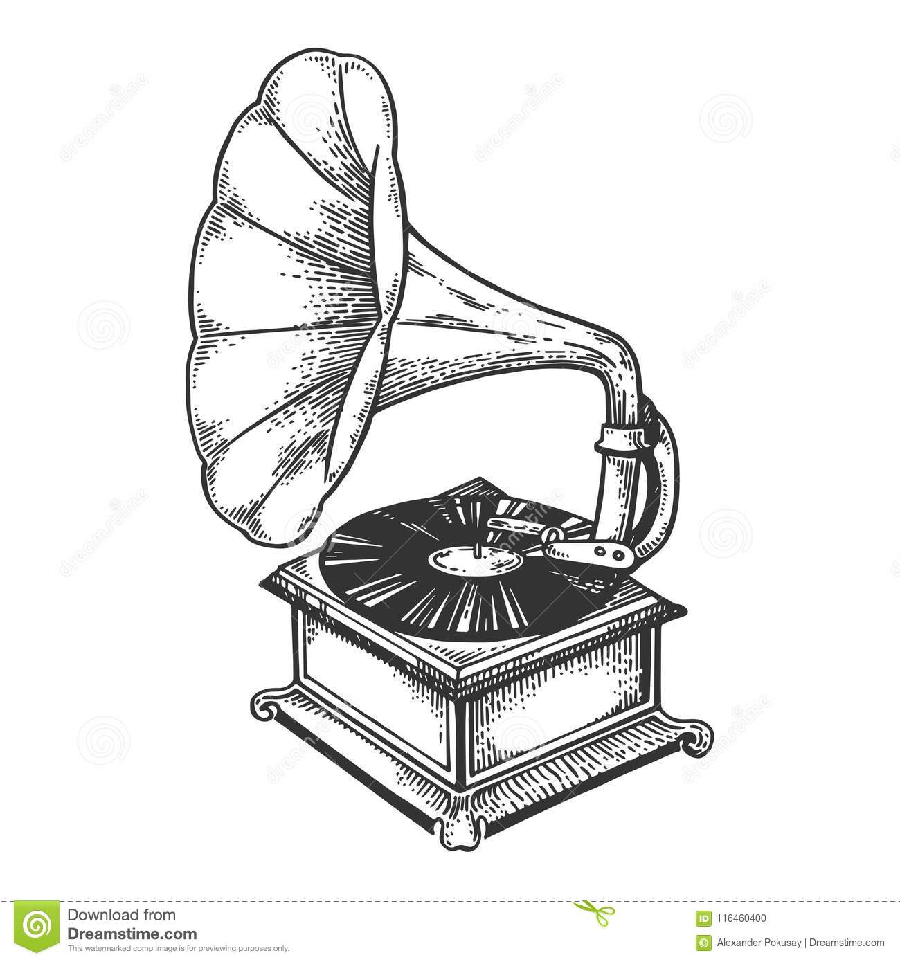 Old Fashioned Gramophone Engraving Vector Stock Vector