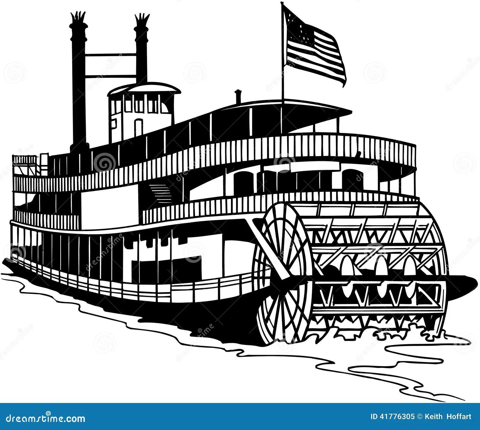 Old Ferry Boat Cartoon Vector Clipart Stock Vector