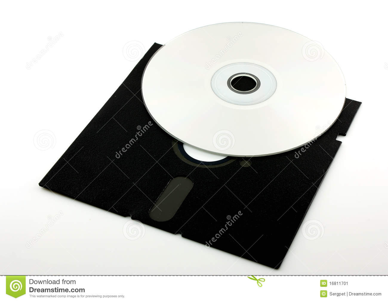 Old Floppy Disk And Cd Rom Stock Image