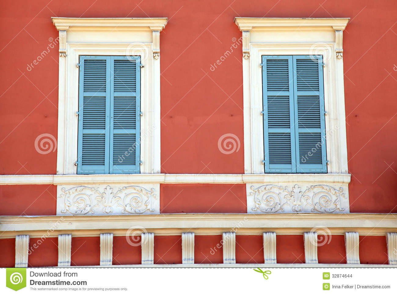 Old French Blue Shutter Windows In Red House Nice France