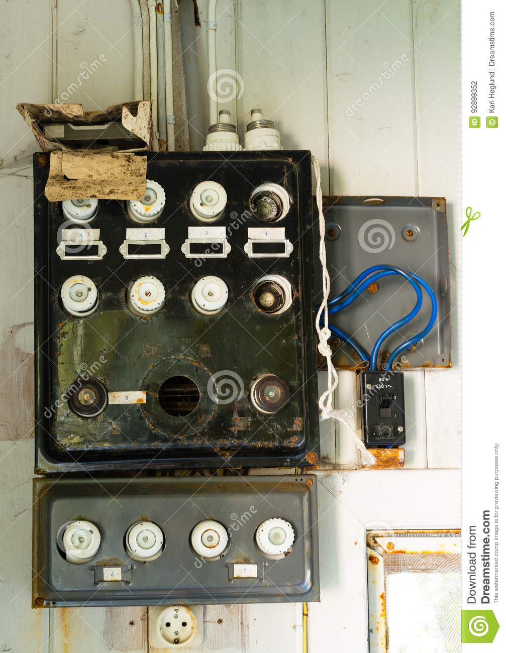 hight resolution of old fuse box in an old abandoned house