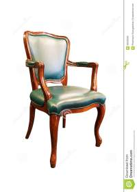 Old Green Leather Chair Isolated On White Stock Photo ...