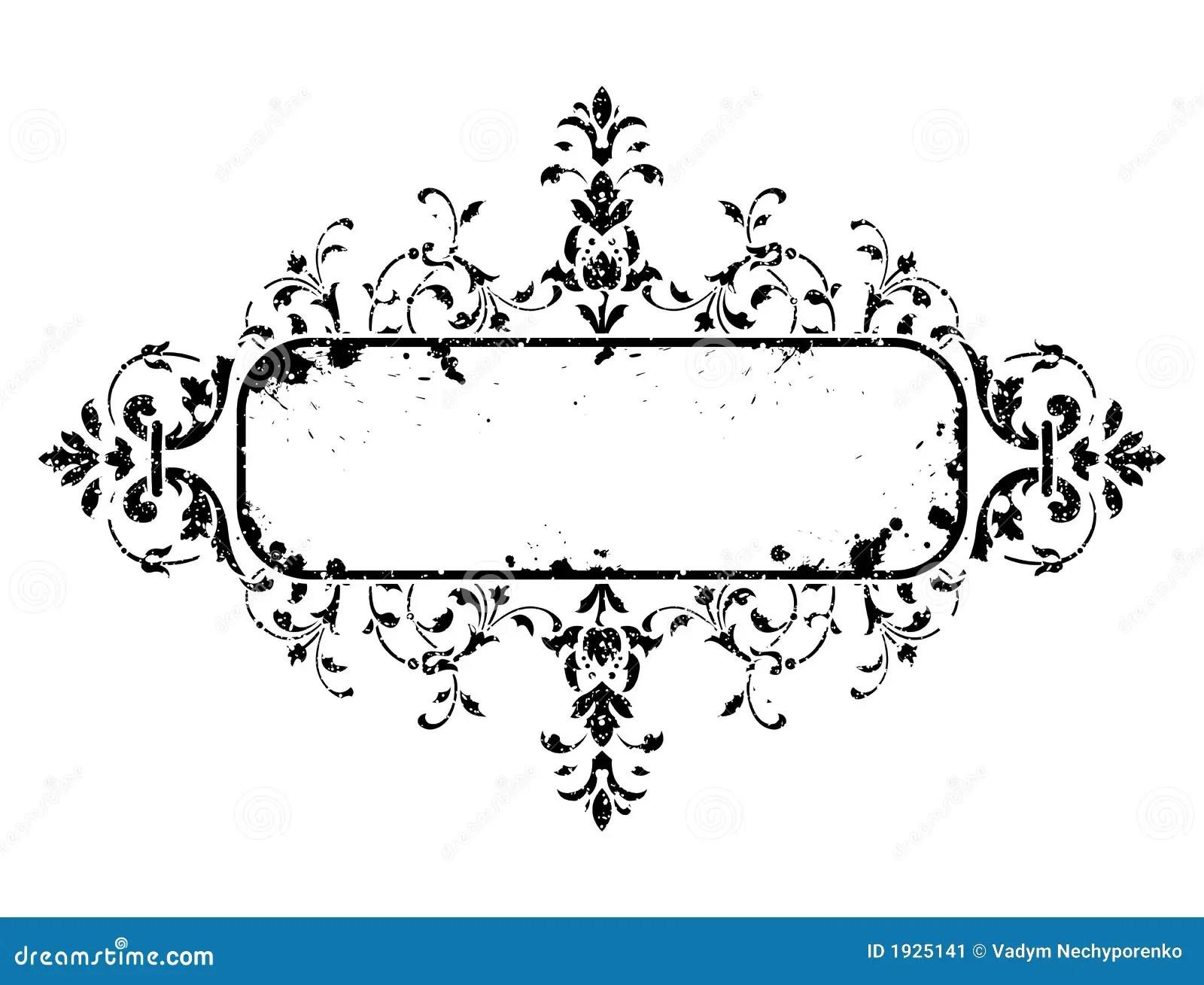 Old Grunge Frame With Floral Decoration Vector