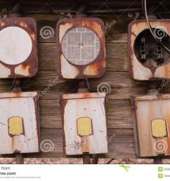 old home fuse box panel rusted electrical equipment stock photoelectrical boxes exposed outside rust away going [ 1300 x 957 Pixel ]