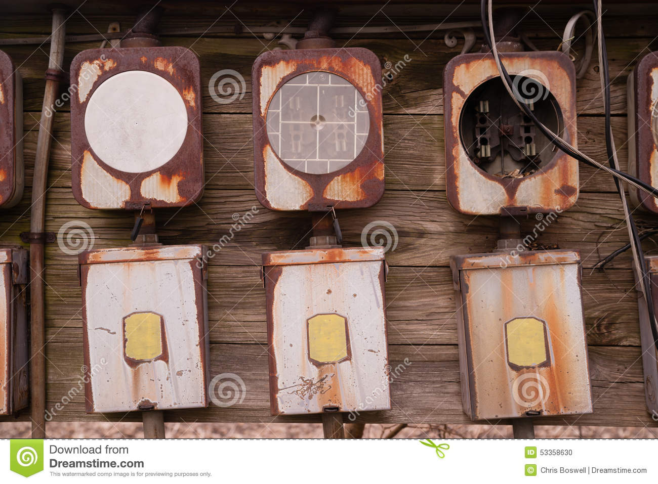 hight resolution of electrical boxes exposed outside rust away going unused