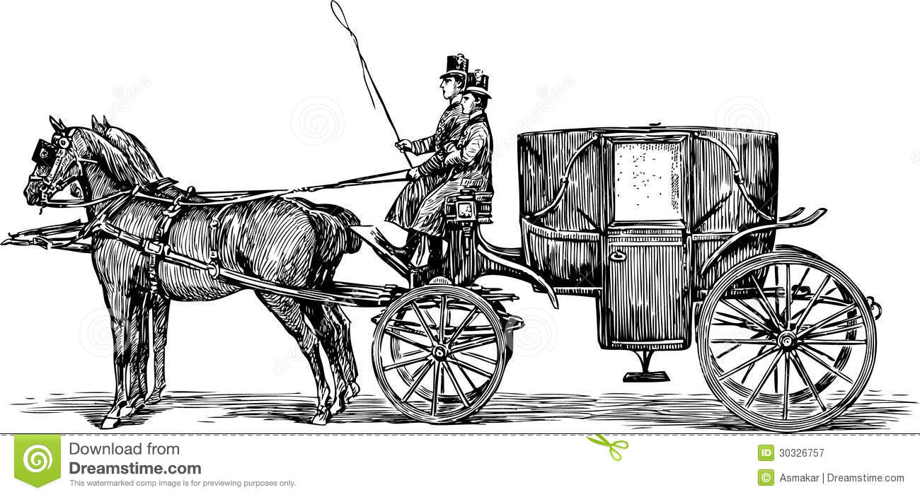 Old horse-drawn carriage stock vector. Image of travel