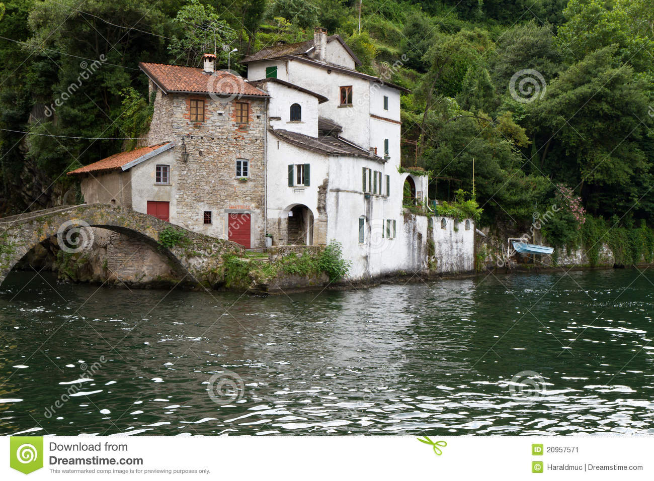 Old Houses Near Nesso Village At Lake Como Italy Stock