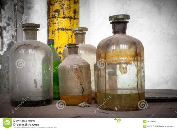 Old Laboratory With A Lot Of Bottles Royalty Free Stock