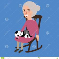 Old Lady Chair Bedroom Navy Woman And Her Cat Royalty Free Stock Image