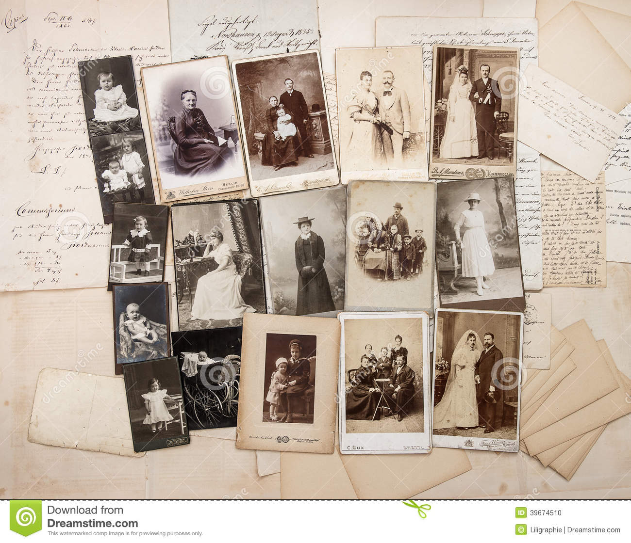 Old Letters And Antique Family Photos Stock Photo