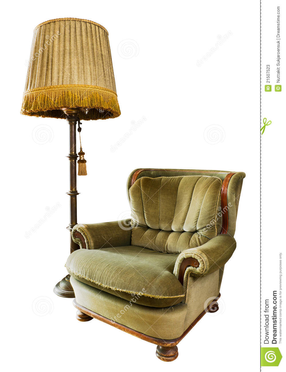 Old Luxury Armchair With Floor Lamp On White Stock Image