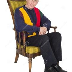 Senior Citizen Chair Bedroom Furniture Old Man Elderly Portrait Isolated Stock
