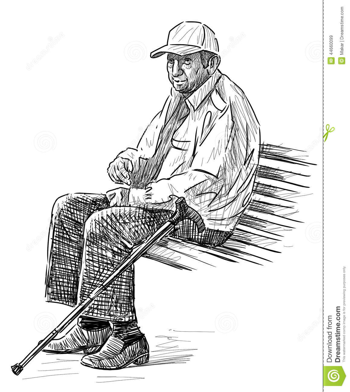 Old Man On The Park Bench Stock Vector
