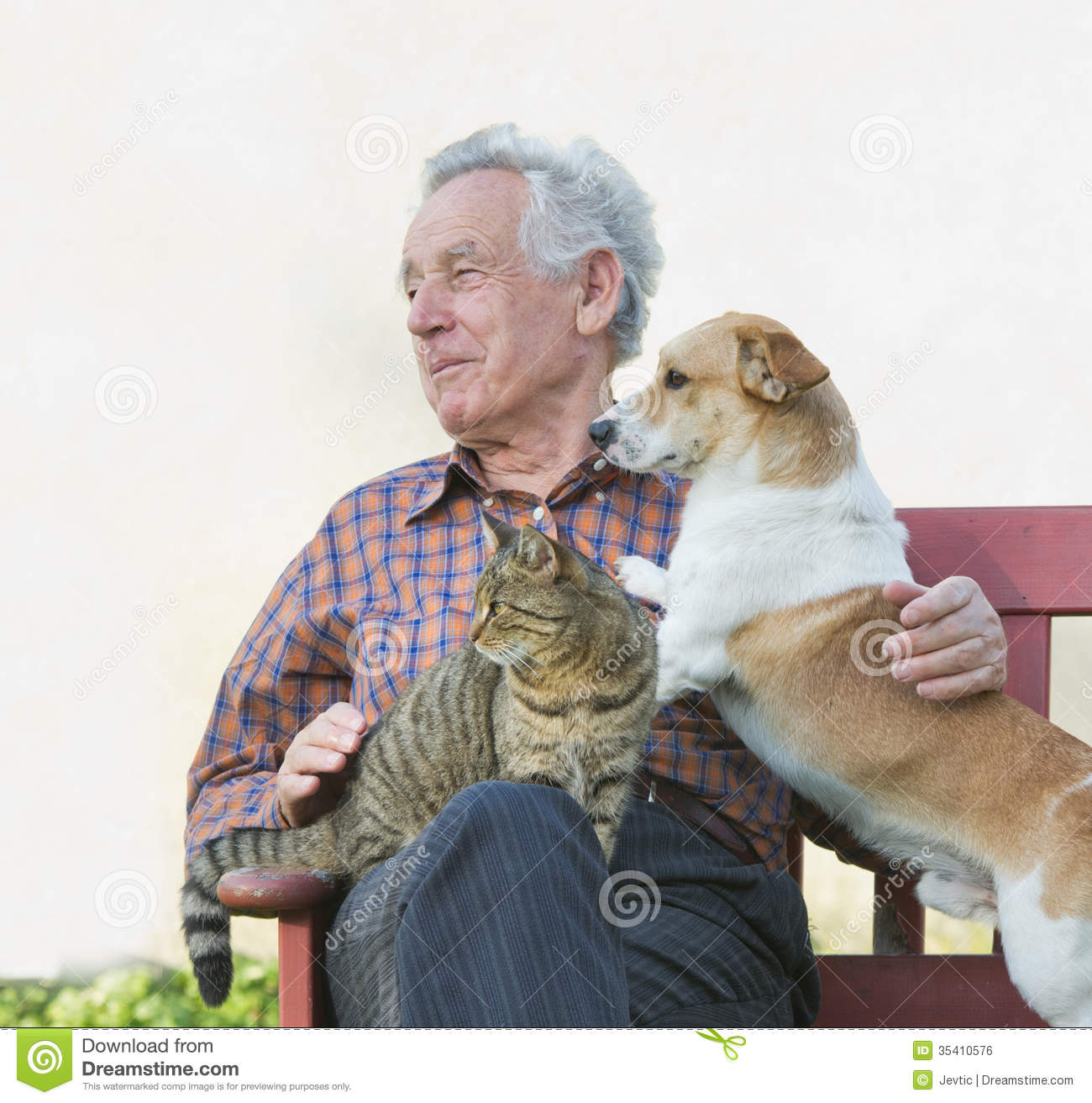 Old Man With Pets Royalty Free Stock Image Image 35410576