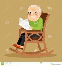 Old Man Sitting In Rocking Chair And Newspaper Stock ...