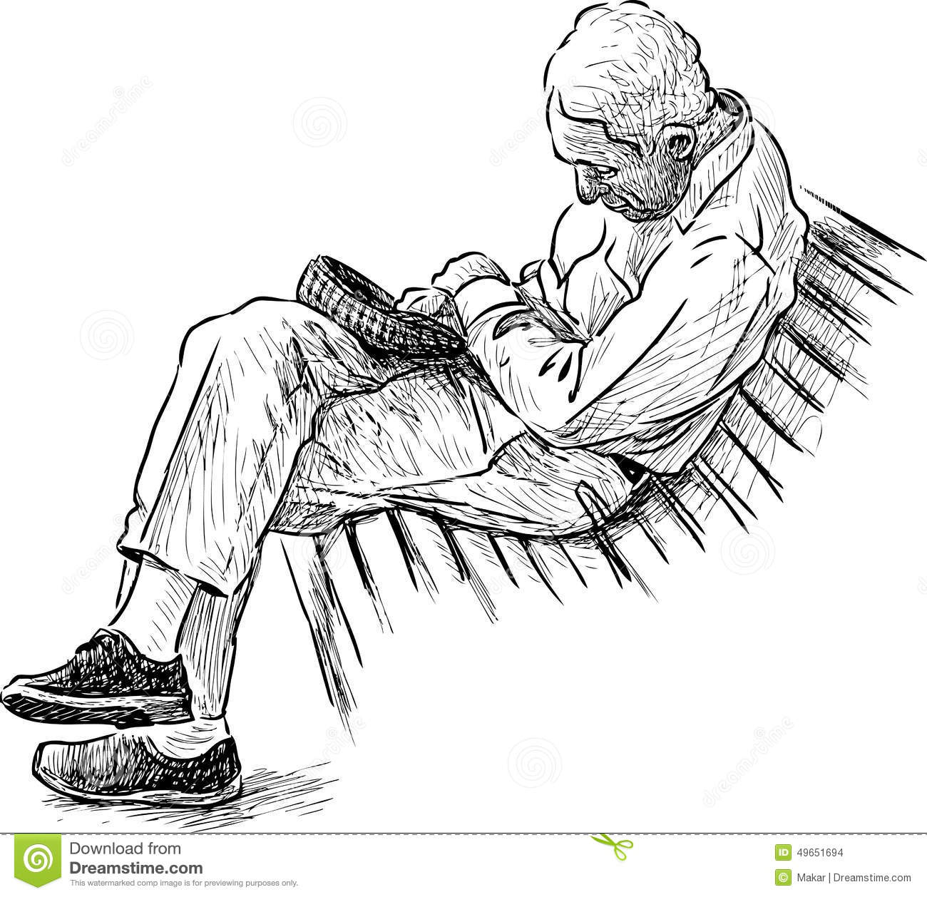 Old Man Sleeping On A Park Bench Stock Vector