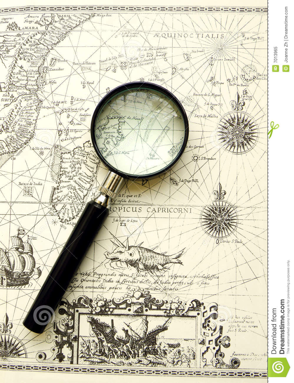 hight resolution of old map ancient sea chart magnifier