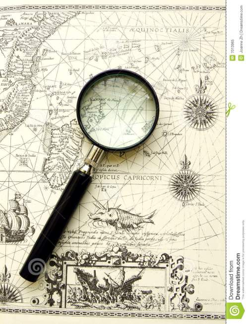 small resolution of old map ancient sea chart magnifier
