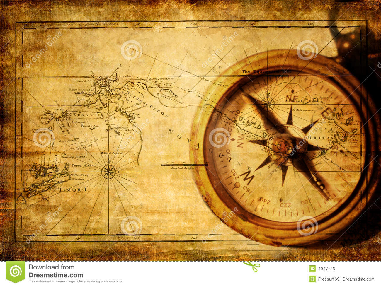 Old Map With Compass Royalty Free Stock Image