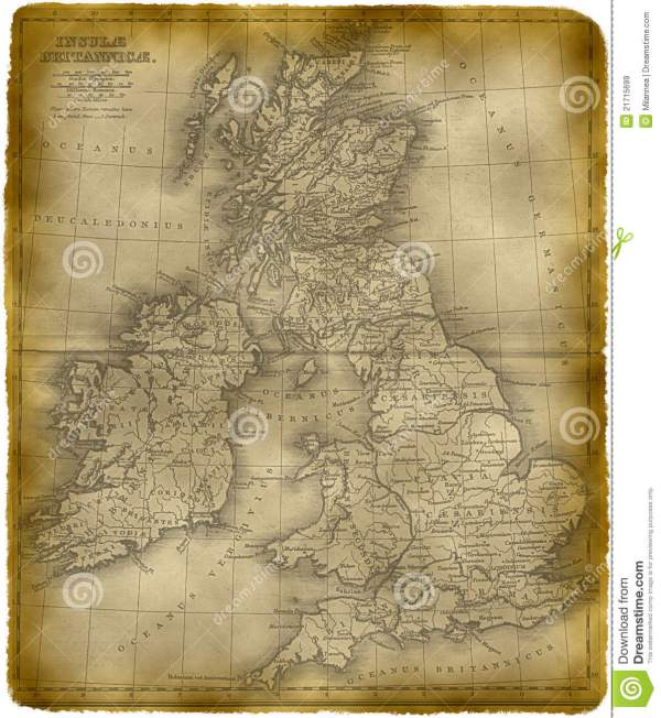 Old Map Of The Great Britain Royalty Free Stock Images