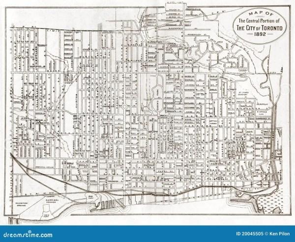 Old Map Of Toronto Royalty Free Stock Photo Image 20045505