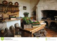 Old Medieval Kitchen Copper Pans Fireplace Table Chairs ...