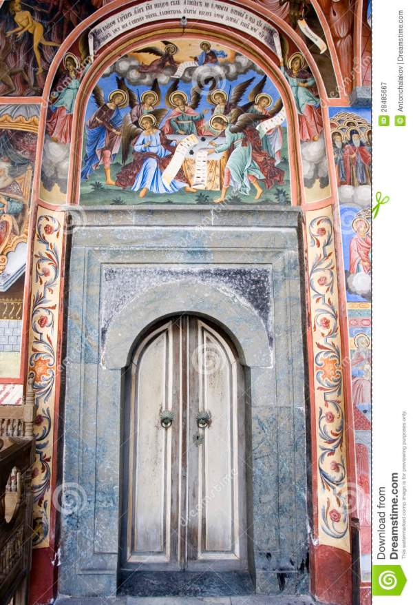 Monastery Door Bible Murals Stock Illustration