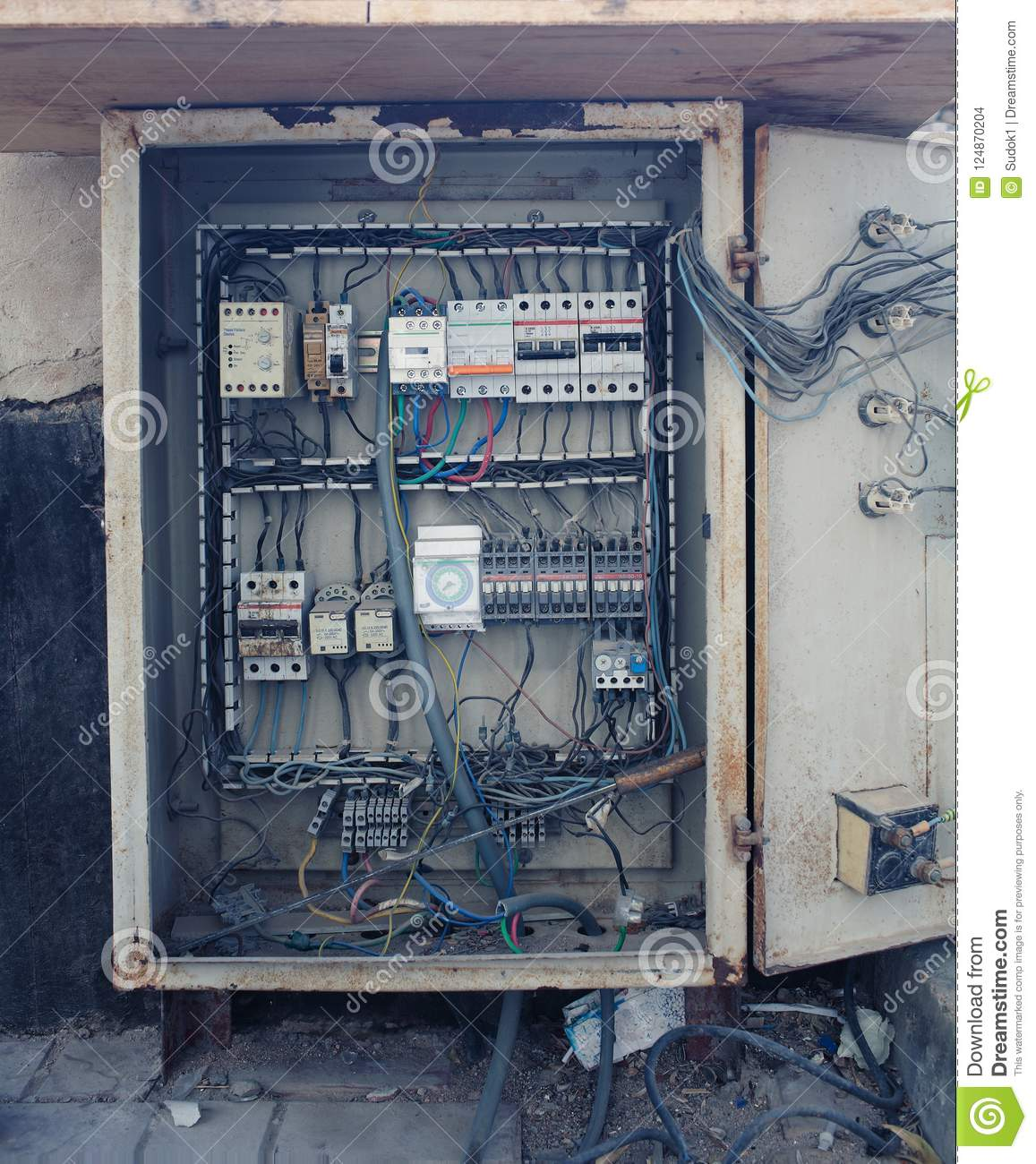 hight resolution of an old open electrical control panel box
