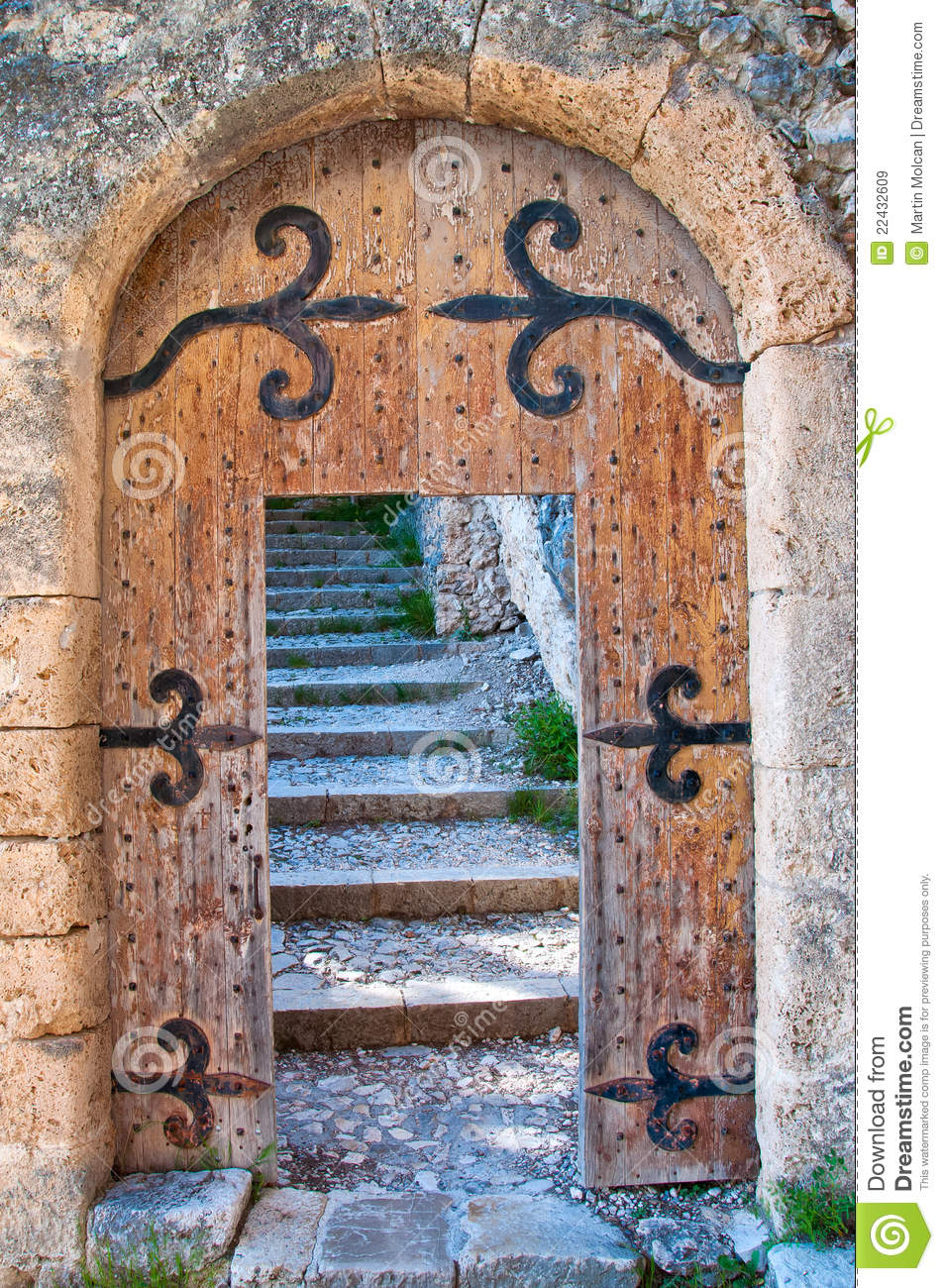 Old Open Wooden Door With Stairs Stock Image Image Of